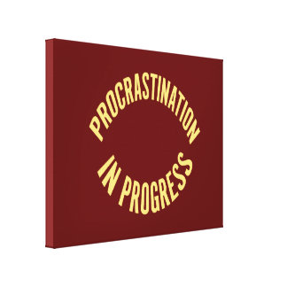 Procrastination in Progress - Red Background Color Canvas Print
