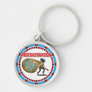 Procrastination is the Thief of Time Silver-Colored Round Keychain