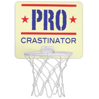 PROcrastinator_all-pro_hoops lovers_on yellow Mini Basketball Backboard