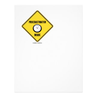 Procrastinator (Clock) Inside Warning Sign Letterhead