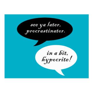 Procrastinator contra hipócrita postales