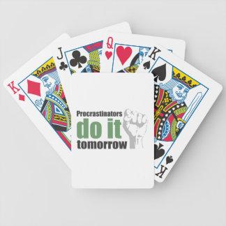 Procrastinators do it tomorrow poker cards