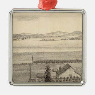 Proctor res, farm square metal christmas ornament