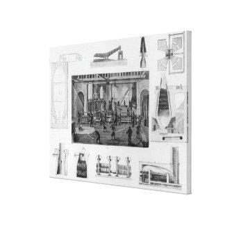 Producción de hierro con una vista general del hie impresión en lienzo