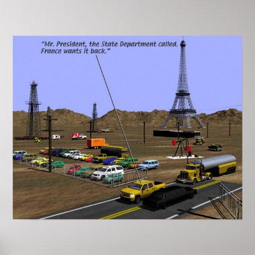 Producción energética - humor del campo petrolífer póster