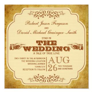 Producción gay del teatro del boda del vintage invitación 13,3 cm x 13,3cm