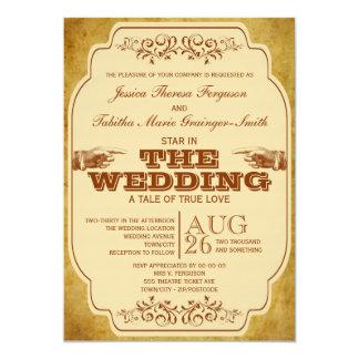 Producción lesbiana del teatro del boda del invitación 12,7 x 17,8 cm