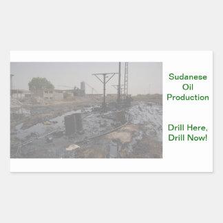 Producción petrolífera sudanesa pegatina rectangular