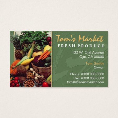 Fruit and Vegetables Produce Market Business Cards