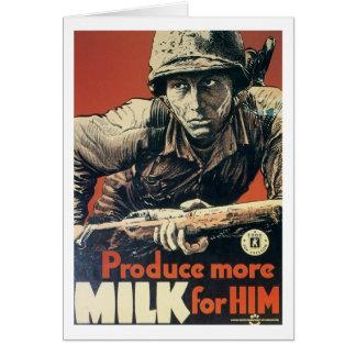 Produce More MILK for Him vintage War poster Card