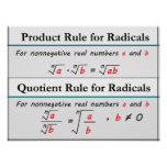 Product and Quotient Rules for Radicals Poster