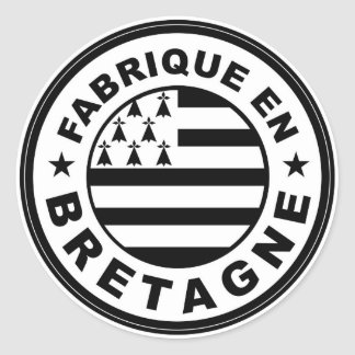 product country flag label made in britany france classic round sticker