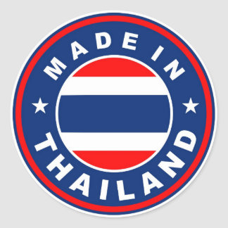 product country flag label made in thailand classic round sticker