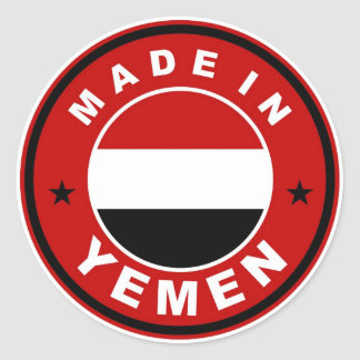 product country flag label made in yemen classic round sticker