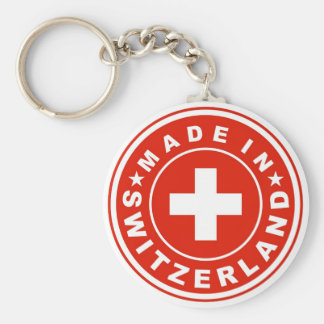 product country flag label made switzerland swiss basic round button keychain