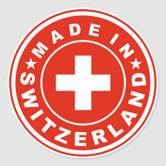 product country flag label made switzerland swiss classic round sticker