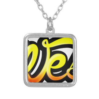 Product graffiti wesh silver plated necklace