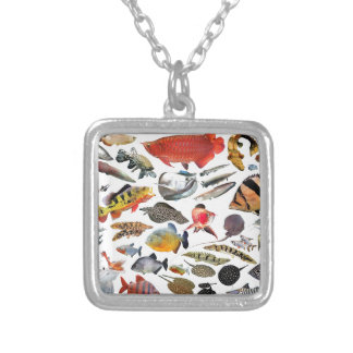 Product of photograph entering of large-sized trop silver plated necklace