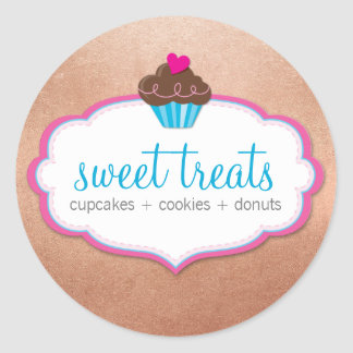 PRODUCT PACKAGING LABEL cute cupcake rose gold Classic Round Sticker