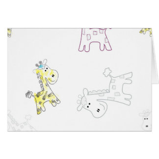 product with pattern colorful sketch of Giraffe Greeting Card