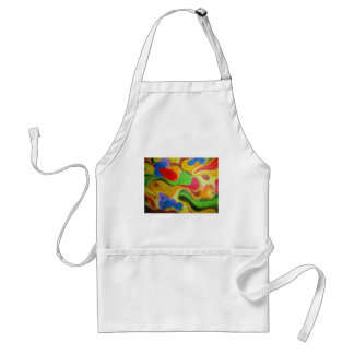 Product with vibrant colorful floating design apron