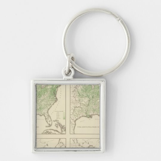 Production of Corn and Dairy, US Lithograph Keychain