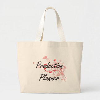 Production Planner Artistic Job Design with Hearts Jumbo Tote Bag