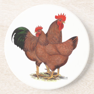 Production Red Chickens Beverage Coasters