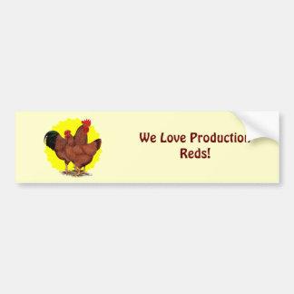 Production Red Sunburst Bumper Sticker