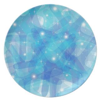 Producto adaptable con el fondo abstracto azul plato de cena
