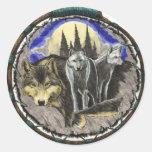 Producto de la impresión del arte de los lobos de etiquetas redondas