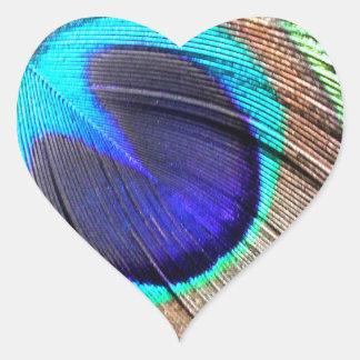 Producto de la pluma del pavo real pegatina corazon personalizadas