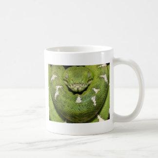Producto de la serpiente verde taza básica blanca