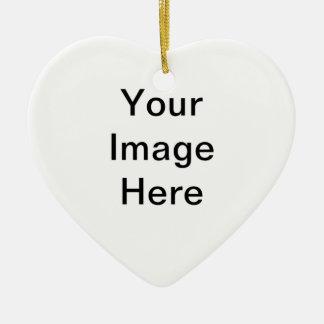 Producto del personalizable de la foto adorno navideño de cerámica en forma de corazón