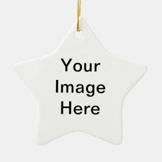 Producto del personalizable de la foto adorno navideño de cerámica en forma de estrella