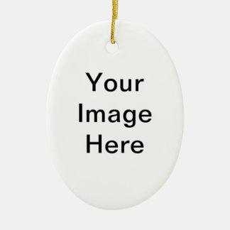 Producto del personalizable de la foto adorno navideño ovalado de cerámica