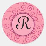 Producto del personalizar - rizo rosado elegante etiquetas redondas