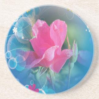 Producto multi subió rosa azul hermoso del fondo posavasos personalizados