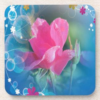 Producto multi subió rosa azul hermoso del fondo posavasos de bebidas