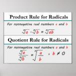 Producto y reglas del cociente para los radicales póster