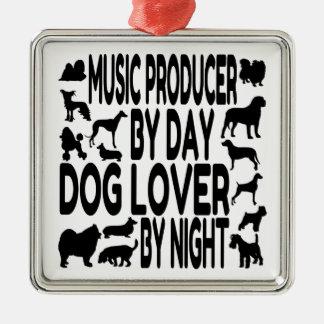 Productor de la música del amante del perro adorno cuadrado plateado