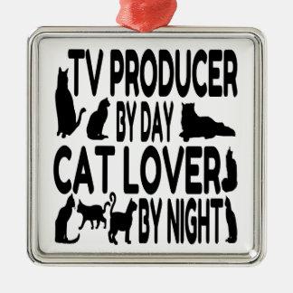 Productor de TV del amante del gato Adorno Navideño Cuadrado De Metal