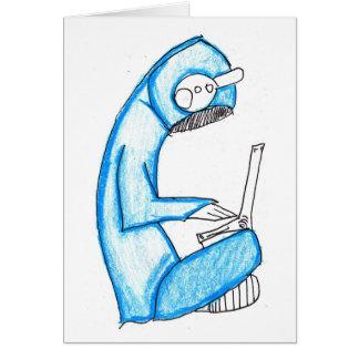 Productor móvil de la música - azul tarjeta de felicitación