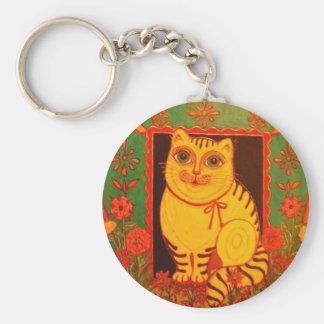 Productos amarillos del gato llavero redondo tipo pin