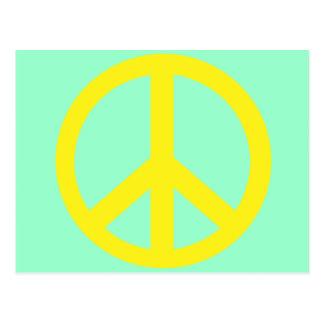 Productos amarillos del símbolo de paz tarjetas postales