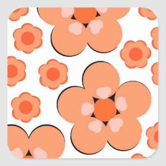 Productos anaranjados florales pegatinas cuadradases personalizadas