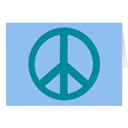 Productos azules del signo de la paz tarjeta de felicitación