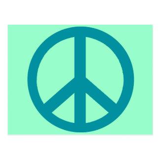 Productos azules del signo de la paz tarjeta postal