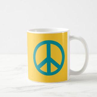 Productos azules del signo de la paz taza de café