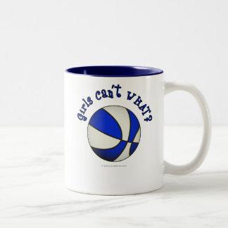 Productos blancos/azules del baloncesto - taza de café de dos colores